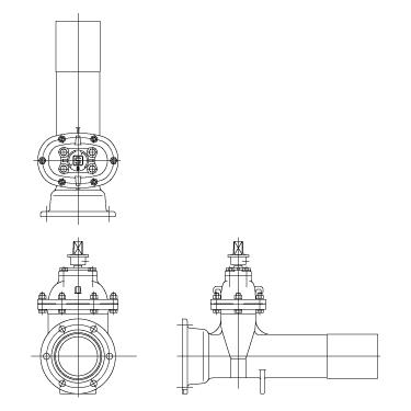 水道用ソフトシール仕切弁 左開き、ショート形、K形受け挿し